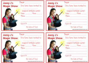 Magic Party Invitations 4 per page