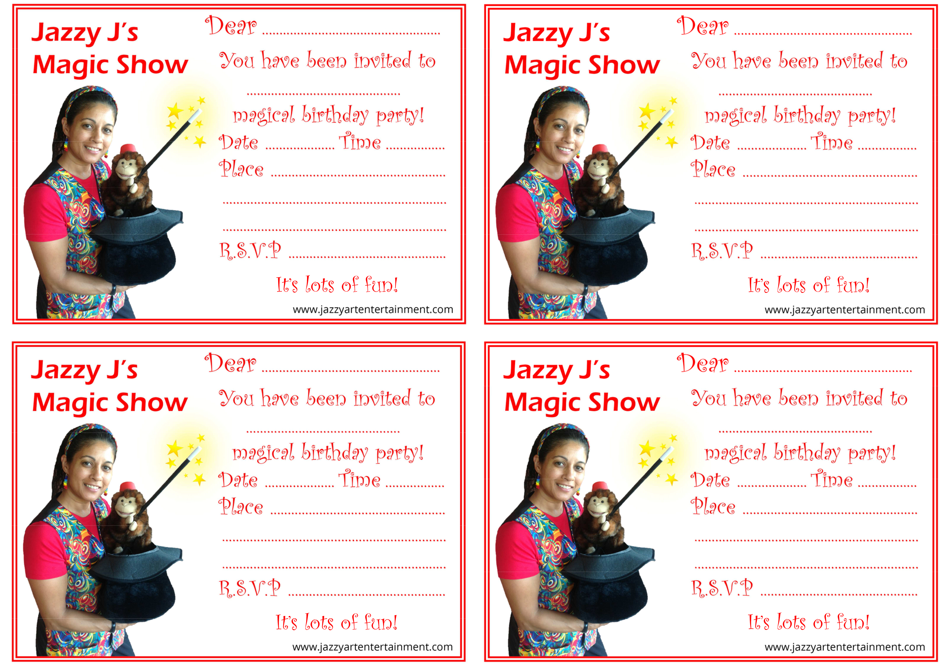 Magic Party Invitations 4 per page - Jazzy Art Entertainment