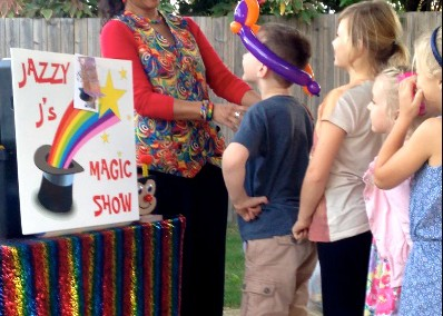 Children at a birthday party magic show