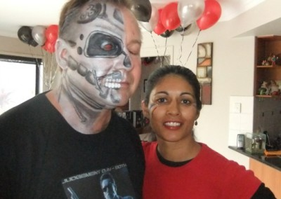 Adult face painted as The Terminator