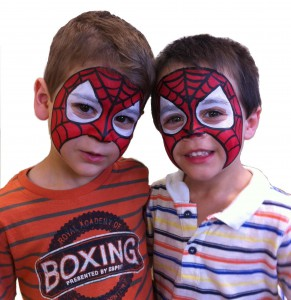 kids birthday party painted as Spiderman